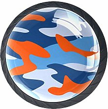 Knobs for Dresser Drawers Orange Camouflage Round