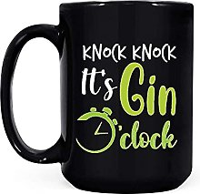 Knock Knock Its Gin O Clock Black Coffee Mug