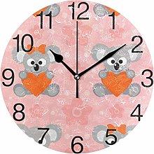 Koala with Heart Round Wall Clock, Silent