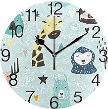Koala with Llama Round Wall Clock, Silent