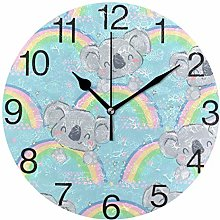 Koala with Rainbow Round Wall Clock, Silent