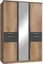 Koblenz Mirrored 4 Drawers Wardrobe In Planked Oak