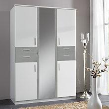 Koblenz Mirrored Wardrobe In White And Light Grey