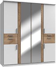 Koblenz Mirrored Wide 6 Doors Wardrobe In White