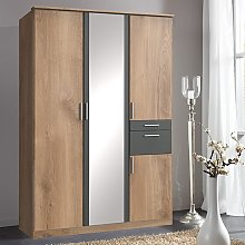 Koblenz Mirrored Wide Wardrobe In Planked Oak And