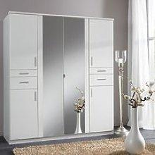 Koblenz Mirrored Wide Wardrobe In White With 6