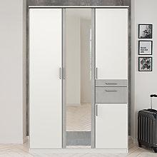 Koblenz Mirrored Wooden Wide Wardrobe In White And