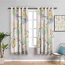 KOEWSN Eyelet Blackout Curtains Beige Flowers