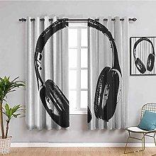 KOEWSN Kids Bedroom Curtains - Art Gray Headphones