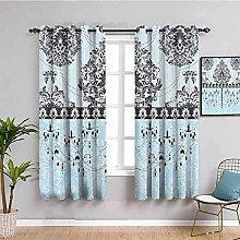KOEWSN Kids Bedroom Curtains - Blue Flowers Retro