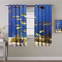 KOEWSN Kids Bedroom Curtains - Blue Sea Coral Fish