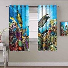 KOEWSN Kids Bedroom Curtains - Blue Sea Coral