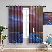 KOEWSN Kids Bedroom Curtains - Cartoon Blue Aurora