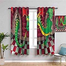 KOEWSN Kids Bedroom Curtains - Cartoon Green