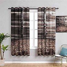 KOEWSN Kids Bedroom Curtains - Gray Retro Brick