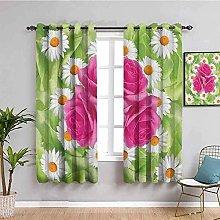 KOEWSN Kids Bedroom Curtains - Green Flowers