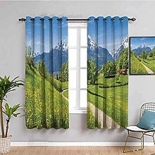 KOEWSN Kids Bedroom Curtains - Green Grassland