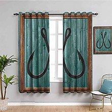 KOEWSN Kids Bedroom Curtains - Green Plank Black