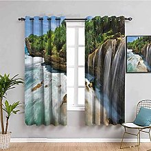 KOEWSN Kids Bedroom Curtains - Green Tree Island