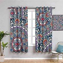 KOEWSN Kids Bedroom Curtains - Purple Art Bohemian