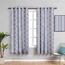 KOEWSN Kids Bedroom Curtains - Purple Line Pattern