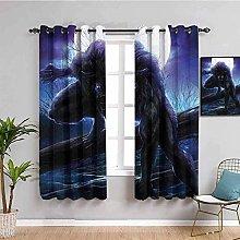 KOEWSN Kids Bedroom Curtains - Purple Moon Animal