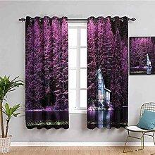 KOEWSN Kids Bedroom Curtains - Purple Tree Lake