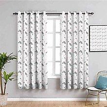 KOEWSN Kids Bedroom Curtains - Simple Gray Leaves