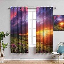 KOEWSN Kids Bedroom Curtains - Sunset Flowers