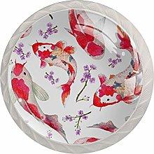 Koi Red Fish 4 Pieces Crystal Glass Wardrobe