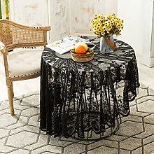 Kokomimi Black Lace Tablecloth Round Vintage Lace