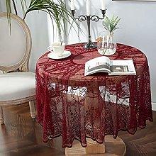 Kokomimi Red Wine Lace Tablecloth Round Vintage