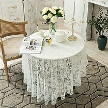 Kokomimi White Lace Tablecloth Round Vintage Lace