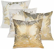 Komake Pack of 4 Cushion Cover Set, Gold Foil