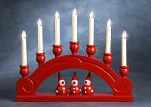Konstsmide Candlesticks Wooden Lacquered Welcome