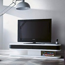 Kontur TV Stand In White With Black Contrast And 2