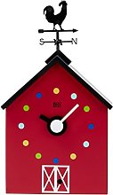 KOOKOO RedBarn small, farmhouse clock with 12