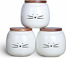 Koolkatkoo Ceramic Cat White Canister Set Coffee
