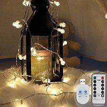 Koopower Globe Fairy Lights, 100 LEDs USB Plug in