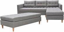 Kopenhaga - Corner Sofa Bed - Grey with a Pouf and
