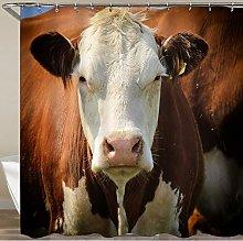 KOSALAER Shower Curtain,Beast Blue Head Cow Nature