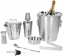 Kosma 8 Piece Stainless Steel Cocktail bar Set   Professional Cocktail Bar Accessories: Set Includes Cocktail Shaker, Champagne Bucket, Ice Bucket, Jigger, Mixing Spoon, Ashtray, Wine Pourer, Ice Tong