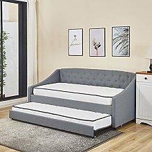 KOSY KOALA Linen fabric daybed grey sofa bed with