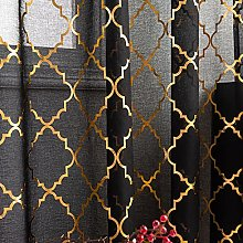 Kotile Black and Gold Curtains 108 Inch Length,