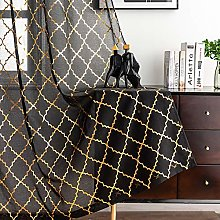 Kotile Black and Gold Sheer Curtains 63 Inch