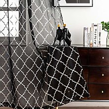 Kotile Black Sheer Curtains with Silver Moroccan