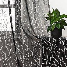 Kotile Black Silver Sheer Curtains for Bedroom,