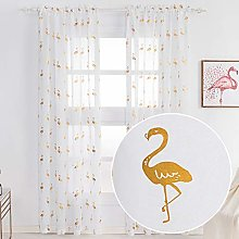 Kotile Gold Foil Flamingo White Sheer Curtains -