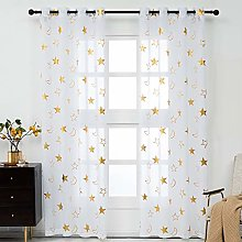 Kotile Gold Star Curtains for Kids Room - White
