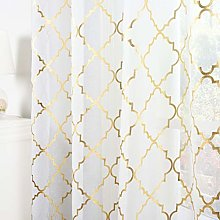 Kotile Gold White Sheer Curtains - Metallic Gold